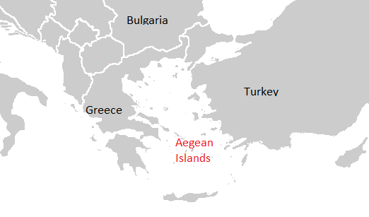 The Aegean Islands DNA region map show in grey, with Aegean Islands in red