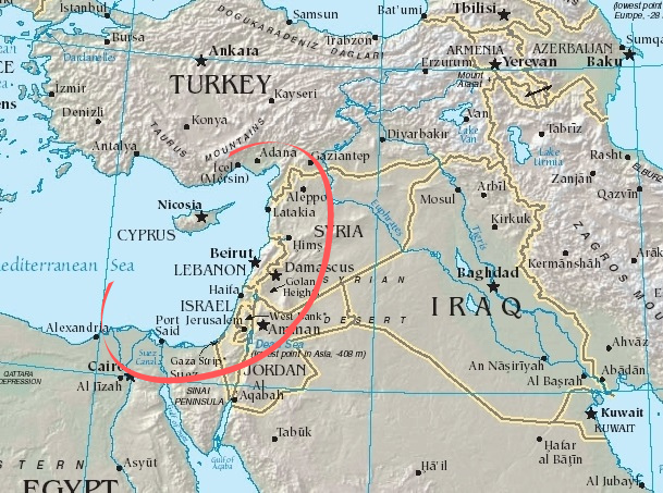 map of the Middle East and Eastern Mediterranean region with the Levant DNA region circled in red