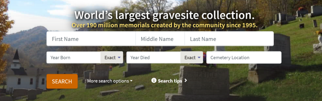 Screen capture from the Find-a-Grave website that shows search fields and search button