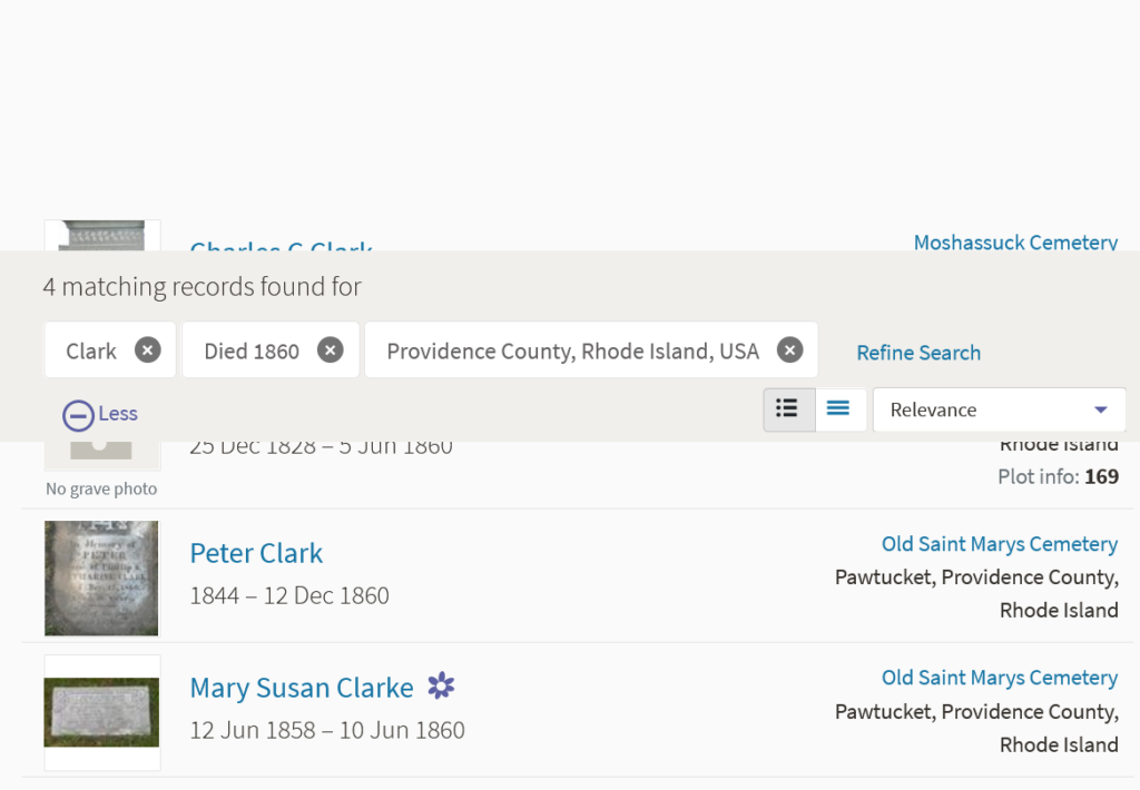 Screen capture from Find a Grave site showing four people with the surname Clark buried in Rhode Island
